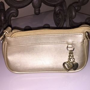 Gold Leather Coin Purse w/Gold Chain